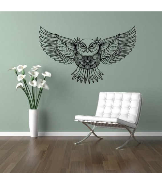 Owl vinyl wall sticker for living room wall decoration.