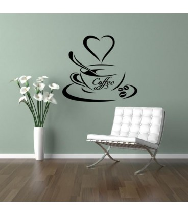 Coffee cup with coffee beans kitchen wall sticker.