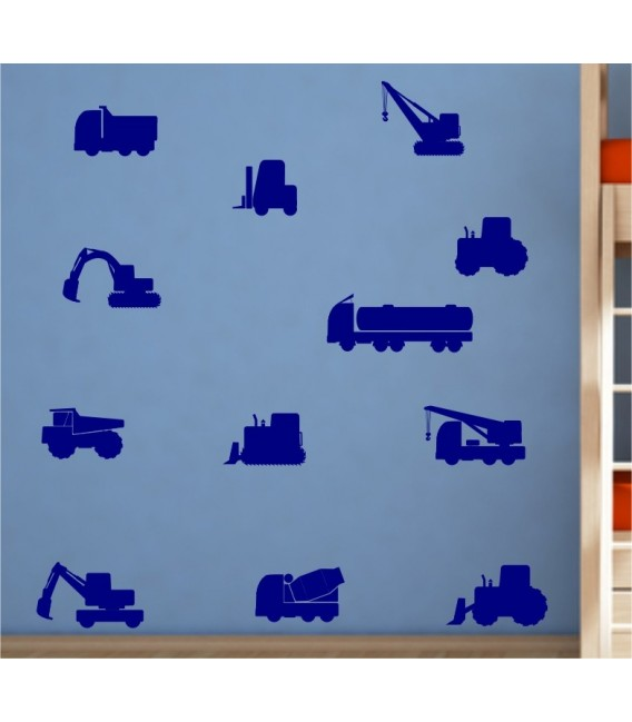 Construction vehicles kids bedroom wall sticker UK.
