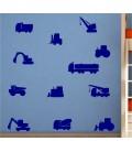 Construction vehicles kids bedroom wall sticker.