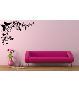Artistic flower corner with a butterfly living room decorative wall sticker.
