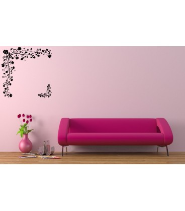 Artistic ornament corner wall decal, living room decorative wall sticker.