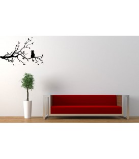 Cat on the tree branch vinyl wall sticker.