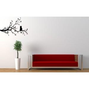 Cat on the tree branch vinyl wall sticker.