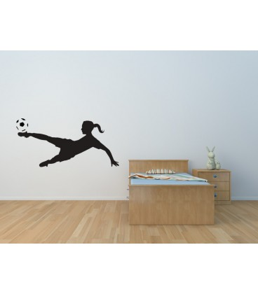 Woman footballer wall sticker, wall graphics.
