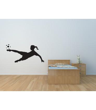 Woman footballer wall sticker, wall graphics.