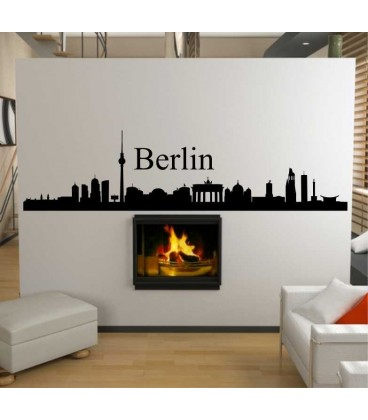 Berlin city skyline wall decal, living room wall sticker.