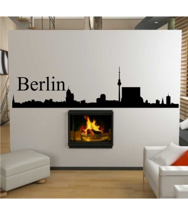 Berlin city skyline wall decal, living room wall sticker.