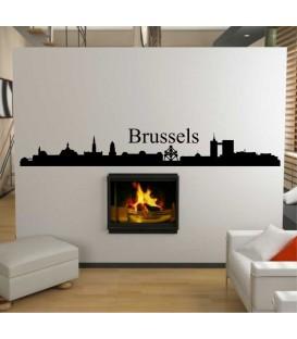Brussels city skyline living room wall sticker.