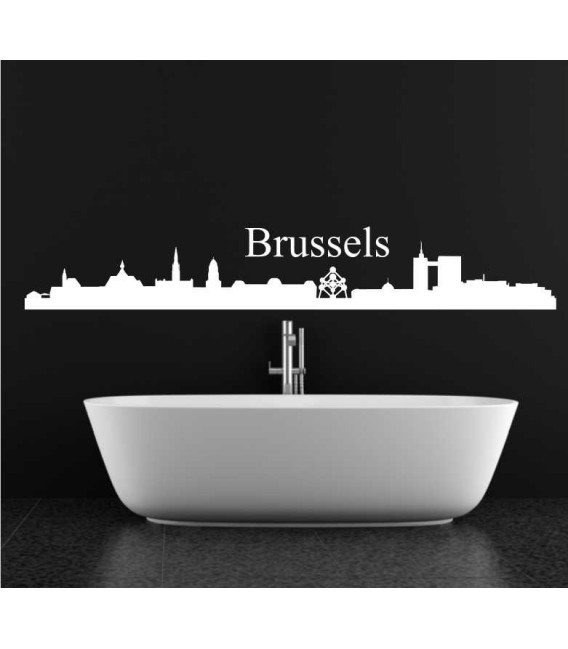 Brussels city skyline wall decal, living room wall sticker.