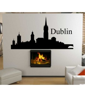 Dublin city skyline wall decal, living room wall sticker.