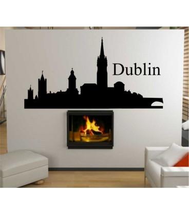 Dublin city skyline wall decal, living room wall sticker.