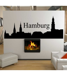 Hamburg city skyline wall decal, living room wall sticker.