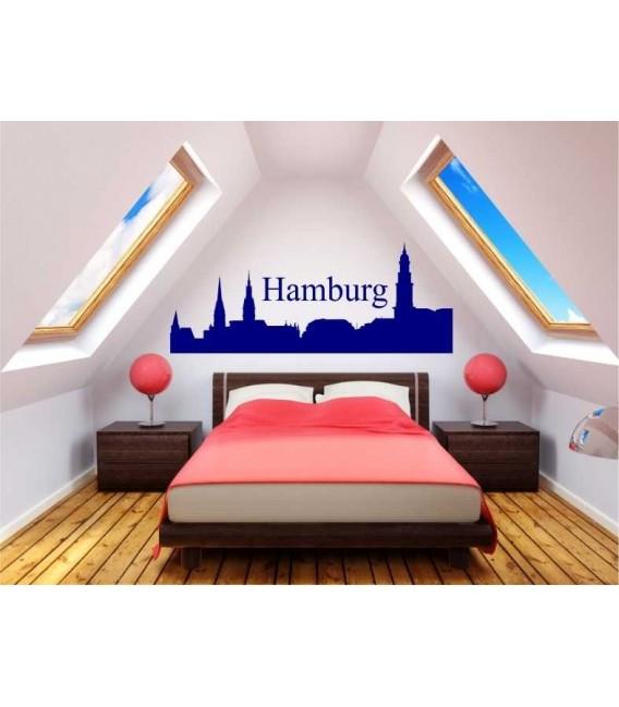 Hamburg city skyline wall decal, living room wall sticker.