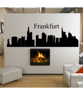 Frankfurt city skyline wall decal, living room wall sticker.
