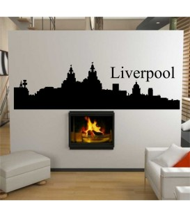 Liverpool city skyline wall decal, living room wall sticker.