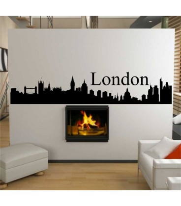 London city skyline wall decal, living room wall sticker.