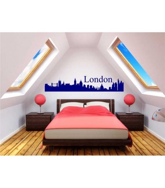 London city skyline wall decal, living room wall sticker.