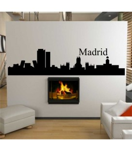 Madrit city skyline wall decal, living room wall sticker.