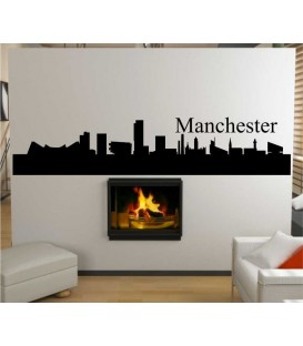Manchester city skyline wall decal, living room wall sticker.