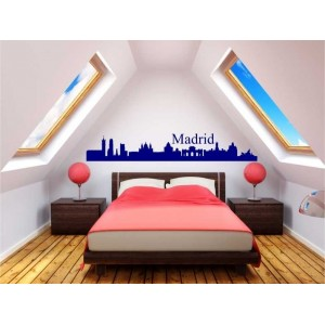 Madrid city skyline wall decal, living room wall sticker.