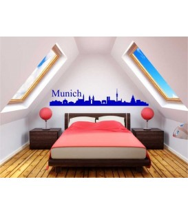 Munich city skyline wall decal, living room wall sticker.