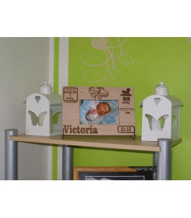 Personalised wooden laser cut and engraved new born baby picture frame.