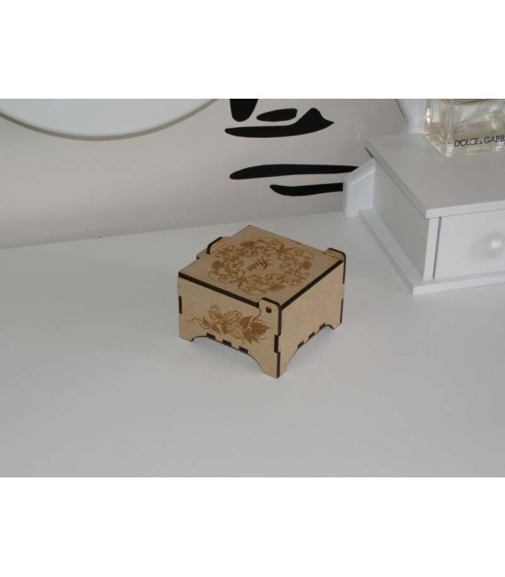 Jewellery keepsake wooden laser-cut box with engraved top.