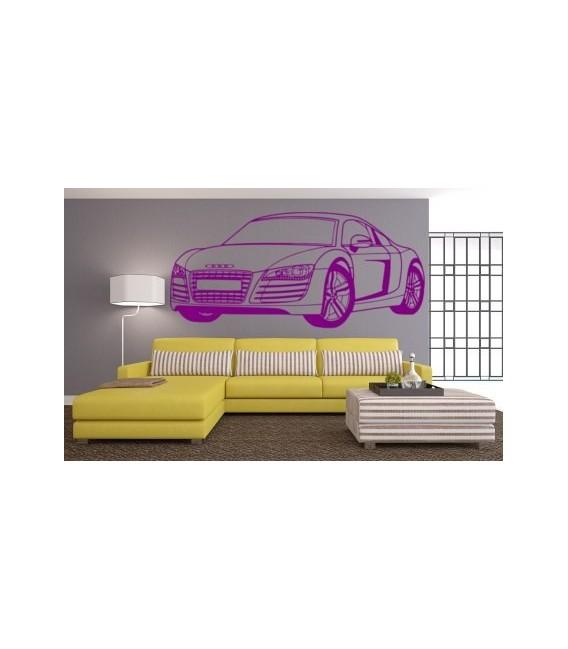 Audi R8 wall decal, boys bedroom wall art sticker, audi R8 wall graphics.