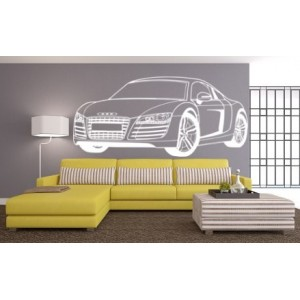 Audi R8 wall decal, boys bedroom wall art sticker, audi R8 wall graphics.
