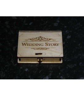 Engraved wooden wedding story memories USB stick box.