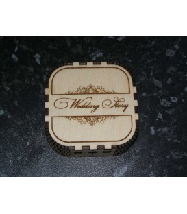 Engraved wooden wedding story USB stick memories box.