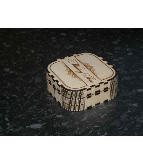 Engraved wooden wedding story USB stick memories box.