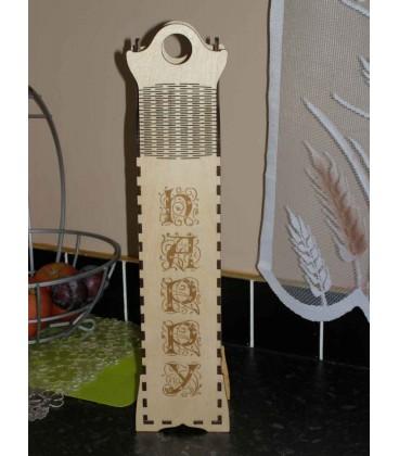 Elegant vertical wooden laser-cut wine box art nouveau style.