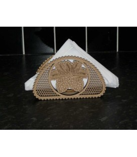 Elegant wooden napkins stand with pine cones engraved.