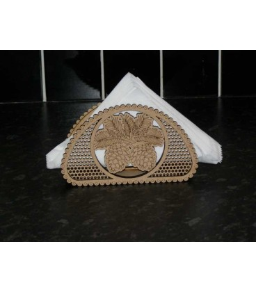 Elegant wooden napkins stand laser-cut and engraved art nouveau style.
