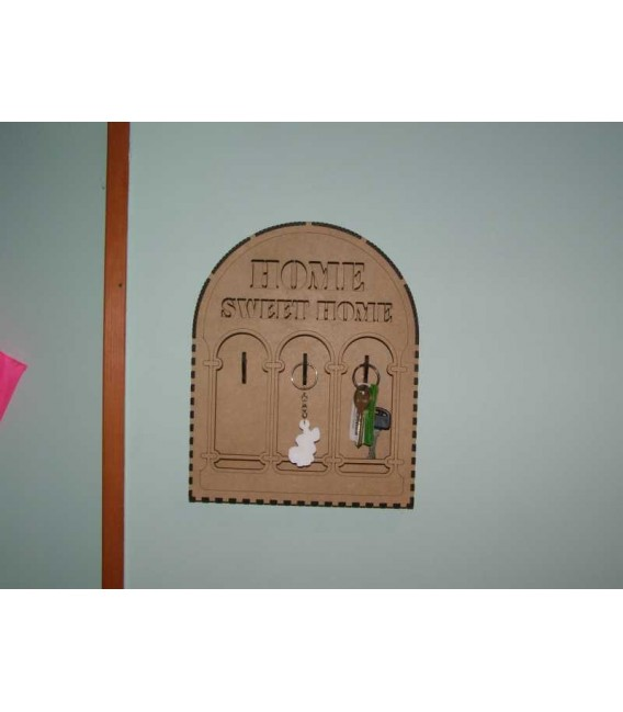 Elegant wooden wall key holder storage box laser-cut and engraved.