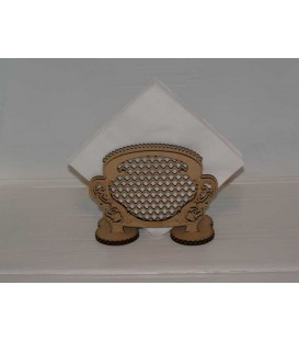 Art deco wooden napkins stand laser-cut and engraved.