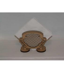 Elegant wooden napkins stand laser-cut and engraved art nouveau style.