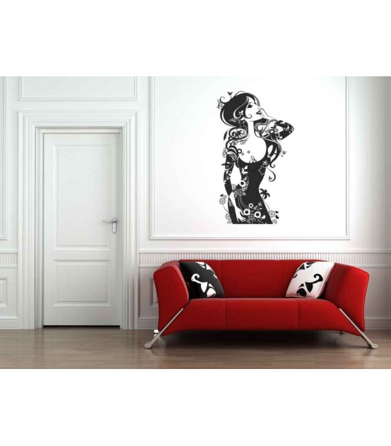 Silhouette of sexy women with flowers wall decal  sticker