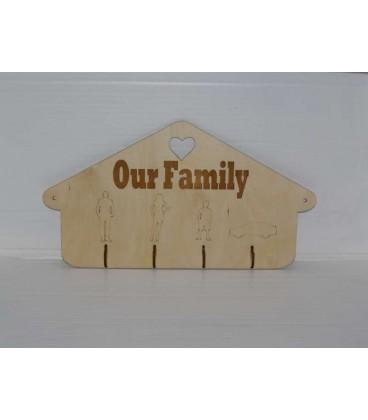 Elegant wooden wall key holder storage box laser-cut and engraved.
