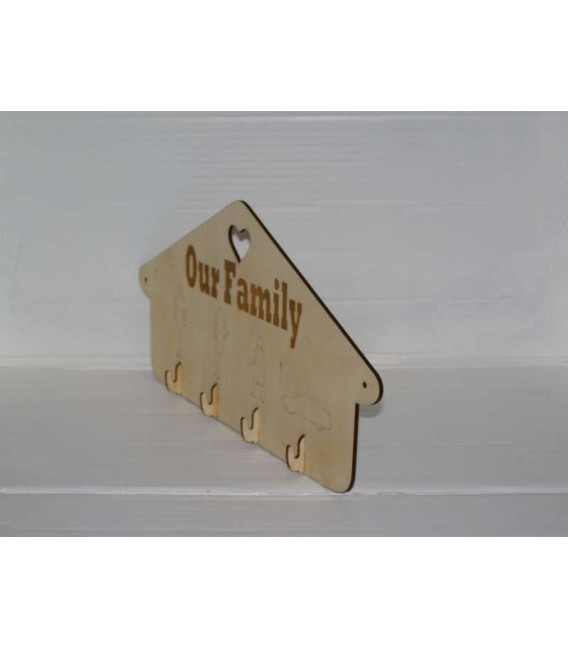 Elegant wooden wall key hanger laser-cut and engraved.