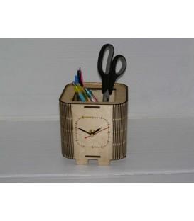 Elegant wooden pen holder with a clock.