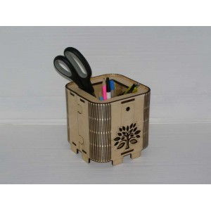 Simple wooden desktop organiser with a clock laser-cut and engraved.
