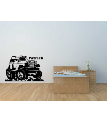 Off-road Jeep wall decal, boys bedroom decorative wall art sticker.