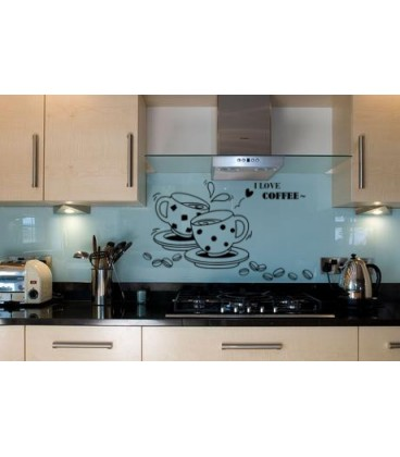 I love coffee, kitchen wall sticker.