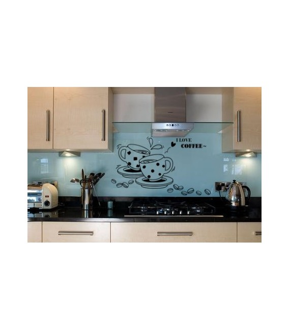 I love coffe, kitchen decorative wall sticker.