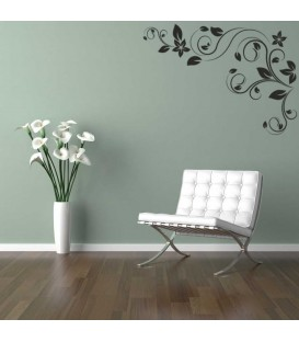 Corner swirl flower wall decal for living room decoration.