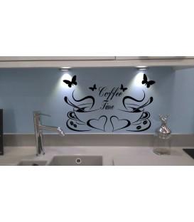 Coffee time kitchen wall art sticker.