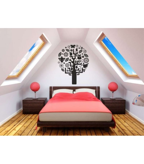Tree with leaves and photoframes wall decal, tree with leaves wall art sticker, tree wall graphics.